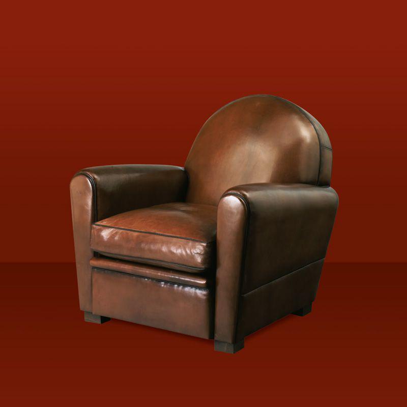 Fauteuil club, canapé club et pouf en cuir pour CHR   Collinet 8619b5e13707
