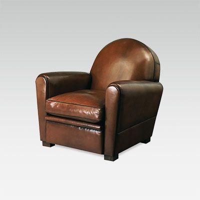 fauteuil club en cuir de fabrication fran aise collinet. Black Bedroom Furniture Sets. Home Design Ideas